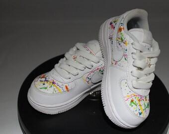 Custom Splatter Painted Air Force Ones- Hand Painted Tennis Shoes- Nikes- Splatter Paint- Custom Tennis Shoes- Custom Painted Air Force Ones