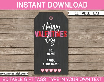 Printable Valentine's Day Gift Tags - Valentine Tags - Happy Valentine's Day Gift Tags - Personalized - INSTANT DOWNLOAD with EDITABLE text