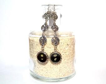 Typewriter Key Earrings – Funky Function Keys - Art Deco-Steampunk Style Earrings, Typography Jewelry.