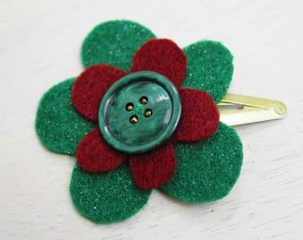 Festive red & green felt flower hair clip