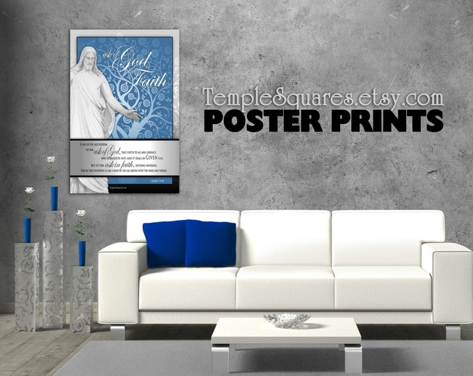Poster prints - Large Printed Posters! LDS YW Young Women mutual theme. Ask of God Ask in Faith UV Archival Ink Christ