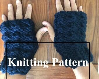 Fingerless Glove Knitting Pattern - Instant download PDF - Bulky Fingerless mitt pattern