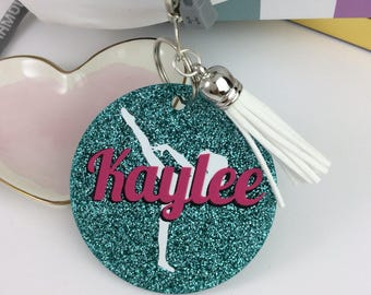 Young Gymnast, Gymnast Areobesque glitter bag tag, Personalized bag tag, gymnastics gift, gifts for gymnasts, gymnastics meet, coach gift
