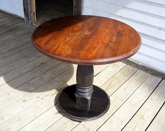 Handcrafted Pedestal Table With Distressed Black Pedestal and Chestnut Stained Top