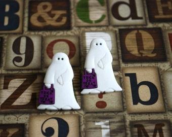 Ghost Earrings -- Ghost Studs, Boo! White Ghost Studs, Halloween Earrings, Geekery Jewelry, Big Earrings
