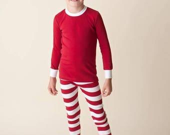 Red and White Striped Pajamas Christmas Pjs, Christmas Pajamas, Christmas PJs, Family PJs