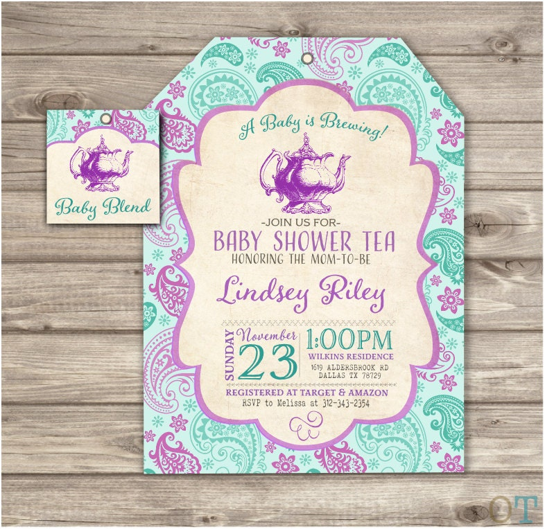 A Baby is Brewing Baby Shower Tea Party Invitations Theme