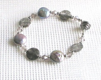 Pearl disk and pewter swirls bracelet with magnetic clasp