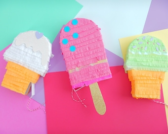 Set of 3- ice cream pinata, ice cream party, ice cream birthday, fiesta de helados, ice cream favors, summer party, pastel party, mini pinat