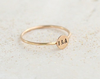 personalized initial ring. SOLID 14K GOLD tiny letter stacking ring. personalized gift for her. best friends sisters girlfriend mom's gift.