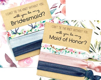Will you be my Bridesmaid | Bridesmaid Proposal | Bridesmaid Hair Tie  Favors | To have and to hold | I can't say I DO without you