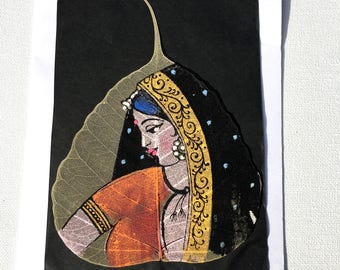 Beautiful Indian Lady Painting; Oil Painting on Dried Leaf