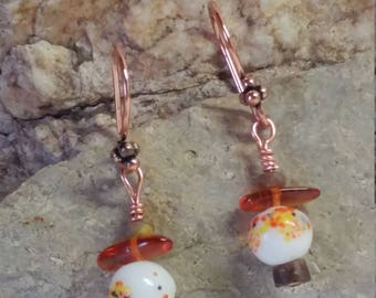 Japanese style earrings, 1950 Japanese beaded and wood earrings, amber earrings