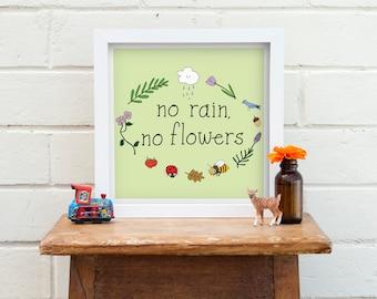 No Rain No Flowers Print |  Flowers Quote Print | Floral Quote Print | Kitchen Print | Bedroom Art | Motivational Quote | Nursery Decor