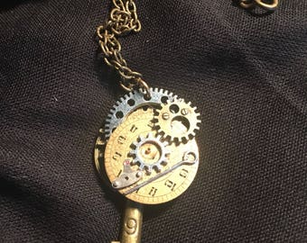 Steampunk Time Travel Key Pendant in moths at bungay