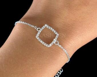 Dainty Swarovski Crystal Geometric Square Fine Cable Chain Delicate Bracelet Jewelry Wedding Christmas Bridesmaid Bridesmaids Wedding Gift