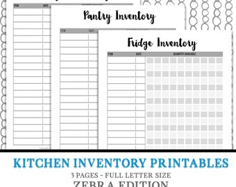 Kitchen Organization - Meal Plan, Kitchen Inventory - Organization - Fridge Inventory Freezer Inventory Pantry Inventory Digital Download