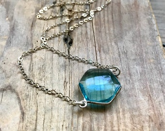 Blue Topaz Necklace Faceted Hexagon Sterling Silver Summer Jewelry, Silver Ocean Blue Boho Style December Birthstone, Mothers Day Gifts