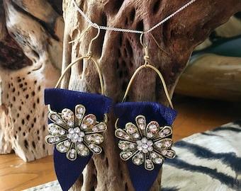 Blue Leather Crystal Earrings