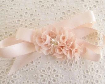 Sash Blush Flower Girl Sash and Blush Chiffon Blossoms Satin Sash Wedding Sash Bridal Sash Matching Hair Clip Headband