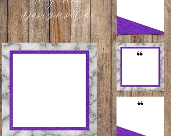 Marble and Ultra Violet Glitter Instagram Quotes Template Pack | Instaquotes, Social Media Design, Social Branding | Instant Download