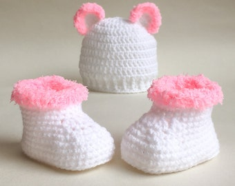 Crochet baby hat and bootie set, bear ears, pink fur, white booties, 0-6 months, baby girl, crochet hat, crochet booties, baby shower gift