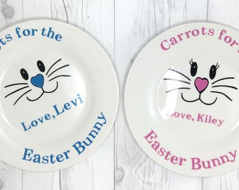 Carrots For The Easter Bunny Plate | Personalized Bunny Plate | Easter Plate | Easter Bunny Plate |