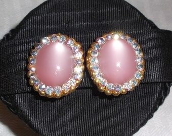 1960s Vintage Pink Moonglow and Aurora Borealis Rhinestone Earrings Clip On Style