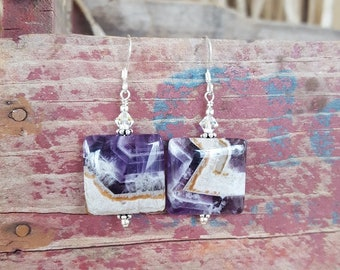 Amethyst and Sterling Silver Earrings, Square Amethyst Earrings, Large Chevron Amethyst Earrings, Square Purple Amethyst Earrings, Amethyst