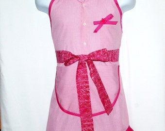 Pretty Pink Ladies Apron, Upcycled From Shirt, Repurposed Apron,  Custom Personalize With Name, No Shipping Fee, Ready To Ship, AGFT 975