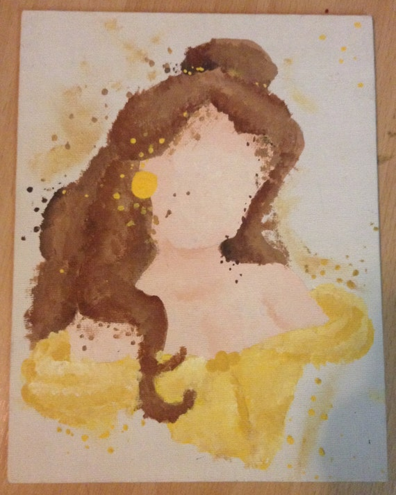 Items Similar To Disney Beauty And The Beast Belle Abstract Painting On Canvas Etsy