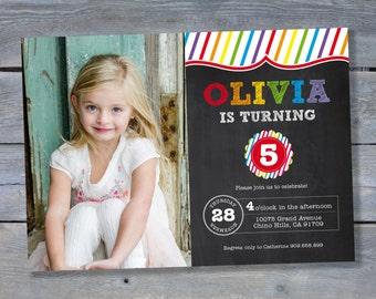 Printable Rainbow Birthday Invitations ~ Rainbow party invitation unicorn birthday personalized