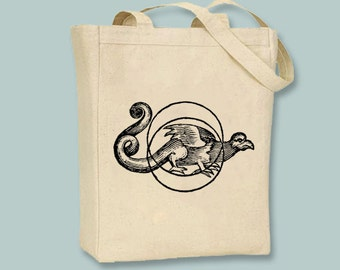 Ancient Dragon Talisman Natural or Black Canvas Tote  - Selection of  sizes available, Image in ANY COLOR