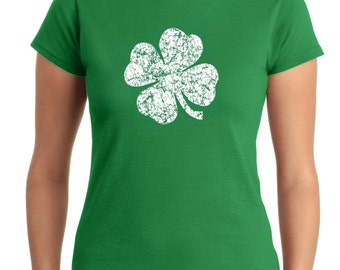 Women's St. Patrick's day Shirt, Four leaf clover T-shirt, Green shirt, Lucky shirt, Lady's Shirt, Screen Printed