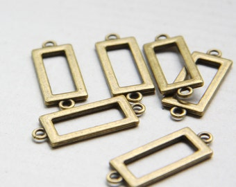 12pcs Antique Brass Tone Base Metal Link - Rectangle 30x12mm (25672Y-O-53B)