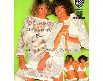 Vintage Crochet Pattern PDF 137 Fishnet Bikinis from WonkyZebra