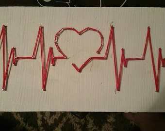 ECG Heart Blip String Art