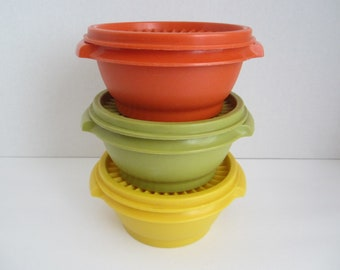 Vintage Tupperware Bowls with Lids / Harvest Colors / Kitchenware / Plastic Contaners/ Food Storage/ Air Tight Seals/ Set of 3/ Comtemporary