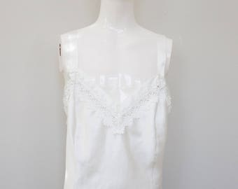 Satin Cream Colored Camisole with adorable daisy trim. Marks & Spencer