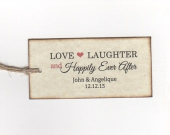 Wedding Tagss Love Laughter Happily Ever After  Favor Gift Tags Bridal Shower Tags Personalized - Rustic Vintage Style Set of 50