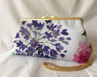 Floral sateen evening clutch purse with gold coloured metal kisslock frame