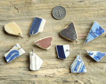 10 Drilled Sea pottery  pendant Pieces With 10 mm silver plated Jump Rings
