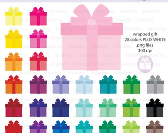 Wrapped Gift or Birthday Present Icon Digital Clipart in Rainbow Colors - Instant download PNG files - PLUS white icon