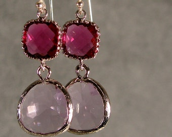 Fuchsia and Lavender Glass Silver Earrings, Wedding Earrings, Bridesmaid Earrings, Silver Bridesmaid Earrings, Silver Earrings (3685W)