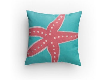 Teal Starfish Pillow