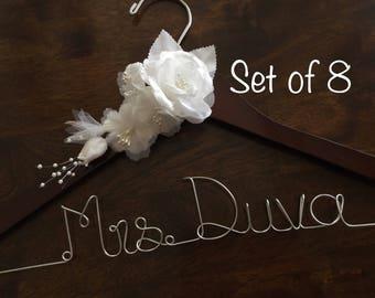 HUGE SALE Set of 8 Flower/Personalized Hangers/ Bride/ Wedding Dress Hanger/Bridal Gift/ bridal party GIFTS/ wire hanger/ wedding hanger