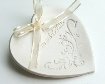 """Porcelain Ring Dish, Ring Bearer Ring Pillows,Porcelain Wedding Ring Dish, """"To Have and To Hold"""", Choice of Round or Heart, Ready to Ship"""