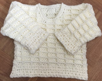 PDF Instant Download Baby Crochet Sweater Pattern in Aran. 3 months to 6 years (1001)