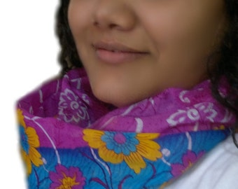 Bohemian Scarf, Fashionable Lightweight Cotton Hippie Sari Scarf, Pink Floral Scarf, Handmade Cowl Scarf, Boho Neckwear, Women's Scarf