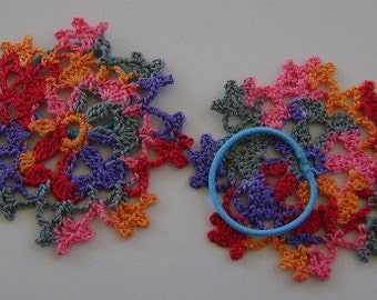Crocheted Variegated Colors Daisy Motif Pony Tail Bands
